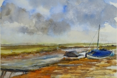 Artist Pat Tinsley, 'Stormy Skies', Blakeney, Watercolour on board, 11x15in, £140