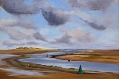 Artist Karen Adams, 'Buoys', Wells Beach, Norfolk, Oil on board, 16x12in, £220. Paint Out Wells 2017