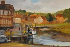Artist Karen Adams, 'Crabbing with Dad', Blakeney, Oil on board, 12x10in, £180. Paint Out Wells 2017