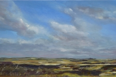 Artist Wendy Kimberley, 'Blakeney Mud Flats', Blakeney, Oil on acrylic, 30x60cm, £175. Paint Out Wells 2017