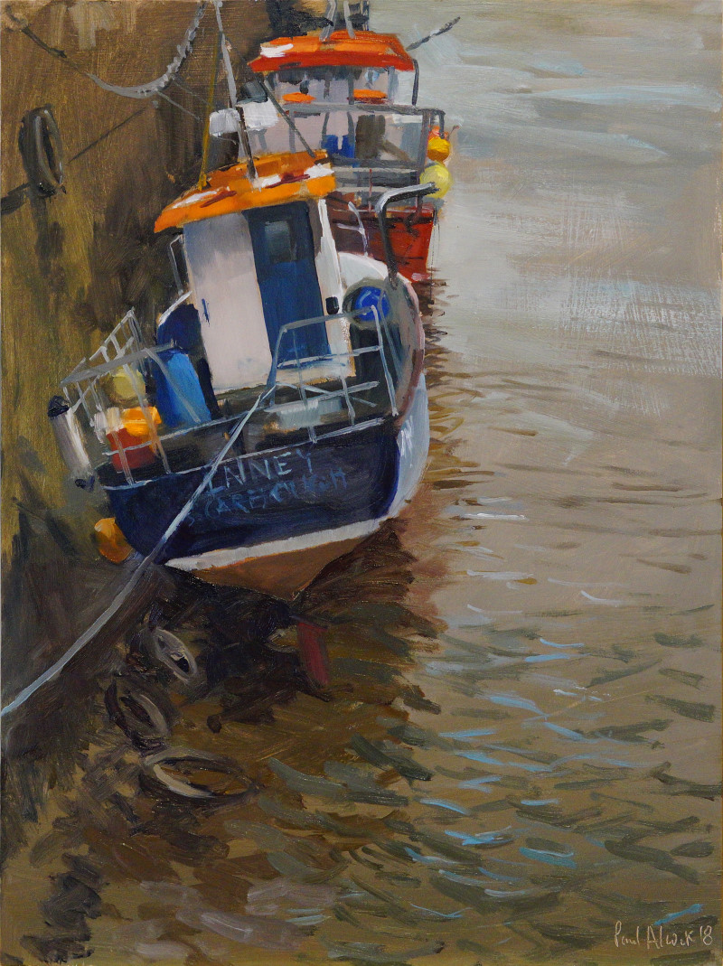 Artist Paul Alcock, 'Fishing Boats, Wells Harbour', Wells-next-the-Sea, Oil, 16x12in, £275. Paint Out Wells 2018