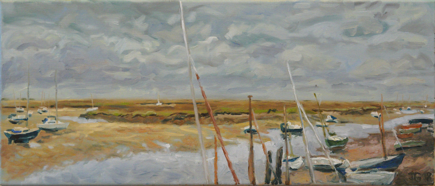 Artist Jan Gaska, 'Incoming Tide', Wells-next-the-Sea, Oil, 30x70cm, £220. Paint Out Wells 2018