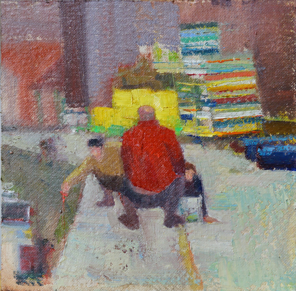 Artist Sam Robbins, 'Crab Fishing and Fish Boxes', Wells-next-the-Sea, Oil, 20x20cm, £180. Paint Out Wells 2018