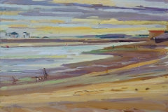 Artist Susanna MacInnes, 'Dark Skies', Wells-next-the-Sea, Oil, 10x8in, £325. Paint Out Wells 2018